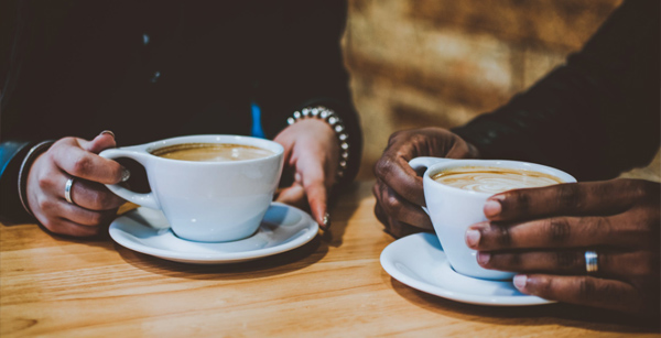 Contract Catering experience - two people enjoying coffee