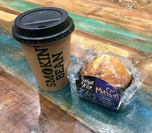 Smokin' bean coffee and muffin