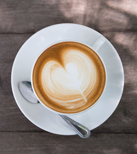 coffee with heart latte art