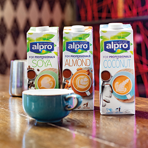 alpro milk in a row